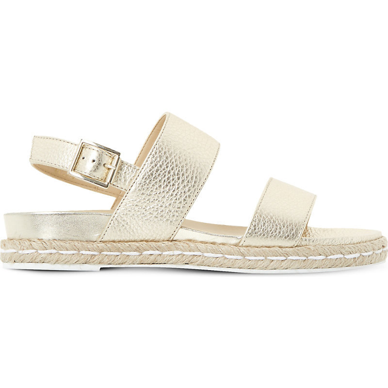 Lacrosse Slingback Metallic Leather Sandals, Women's, Eur 36 / 3 Uk Women, Gold Leather - predominant colour: gold; occasions: casual, holiday; material: leather; heel height: flat; ankle detail: ankle strap; heel: standard; toe: open toe/peeptoe; style: strappy; finish: metallic; pattern: plain; season: s/s 2016; wardrobe: basic