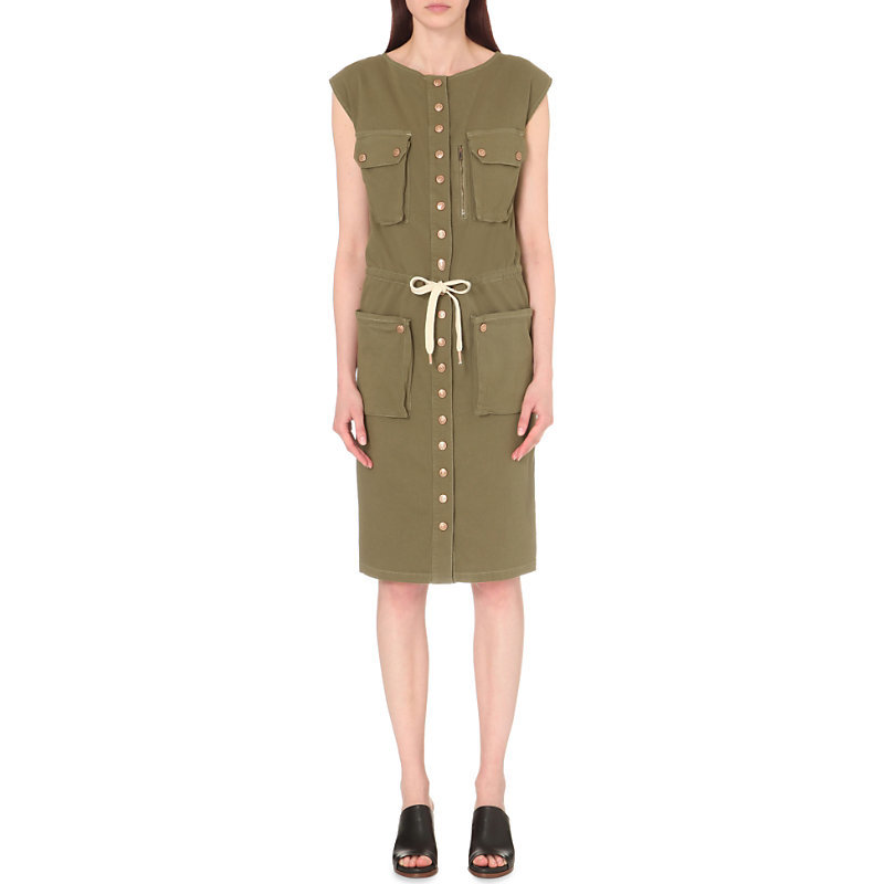 Button Up Stretch Cotton Dress, Women's, Kaki - style: shift; length: below the knee; sleeve style: capped; fit: tailored/fitted; pattern: plain; hip detail: front pockets at hip; bust detail: pocket detail at bust; waist detail: belted waist/tie at waist/drawstring; predominant colour: khaki; occasions: casual, creative work; fibres: cotton - 100%; neckline: crew; sleeve length: short sleeve; texture group: cotton feel fabrics; pattern type: fabric; season: s/s 2016