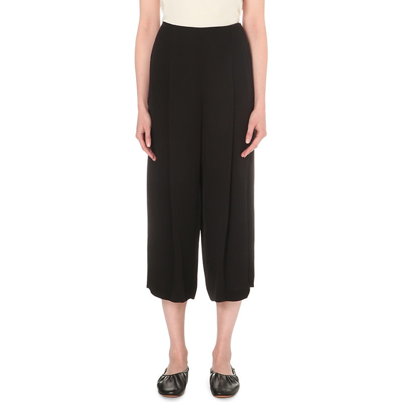 Zavabell Wide Mid Rise Silk Trousers, Women's, Black - pattern: plain; waist: high rise; predominant colour: black; fibres: silk - mix; texture group: crepes; pattern type: fabric; occasions: creative work; season: s/s 2016; style: culotte; length: below the knee; fit: baggy