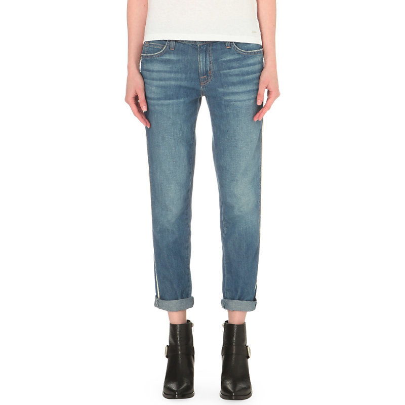 The Fling Slim Mid Rise Turn Up Jeans, Women's, Davis - pattern: plain; pocket detail: traditional 5 pocket; style: slim leg; waist: mid/regular rise; predominant colour: denim; occasions: casual; length: calf length; fibres: cotton - stretch; jeans detail: shading down centre of thigh; jeans & bottoms detail: turn ups; texture group: denim; pattern type: fabric; season: s/s 2016; wardrobe: basic