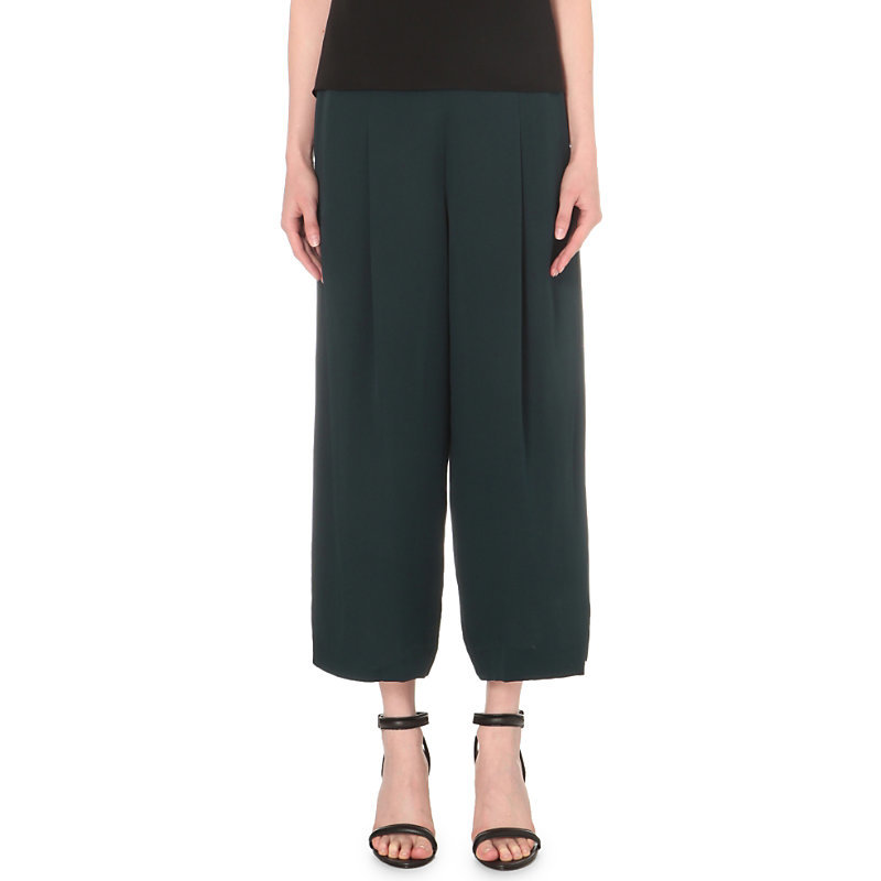 Zavabell Wide Mid Rise Silk Trousers, Women's, Dark Mineral - pattern: plain; style: palazzo; waist: high rise; predominant colour: dark green; occasions: casual, creative work; length: ankle length; fibres: silk - 100%; hip detail: subtle/flattering hip detail; texture group: crepes; fit: wide leg; pattern type: fabric; season: s/s 2016; wardrobe: highlight