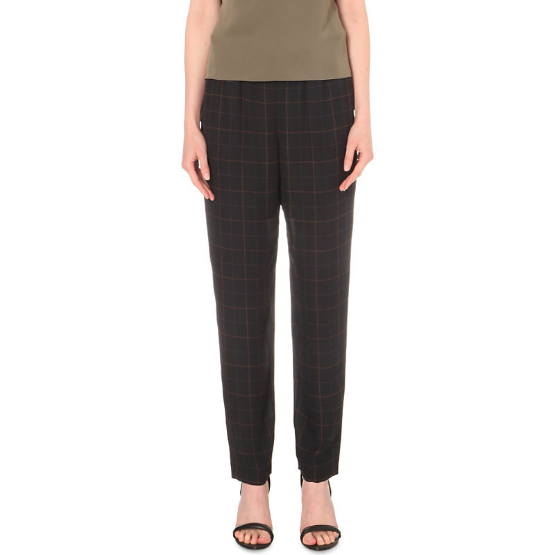 Tralpin Silk Trousers, Women's, Dark Navy - pattern: checked/gingham; style: peg leg; waist: mid/regular rise; predominant colour: navy; length: ankle length; fibres: silk - 100%; fit: tapered; pattern type: fabric; texture group: other - light to midweight; occasions: creative work; season: s/s 2016; wardrobe: highlight
