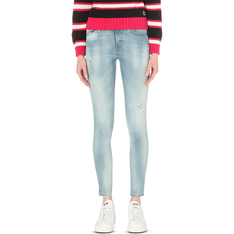 Skinzee Skinny Mid Rise Jeans, Women's, 0854g - style: skinny leg; length: standard; pattern: plain; pocket detail: traditional 5 pocket; waist: mid/regular rise; predominant colour: denim; occasions: casual; fibres: cotton - stretch; jeans detail: shading down centre of thigh, washed/faded; texture group: denim; pattern type: fabric; season: s/s 2016