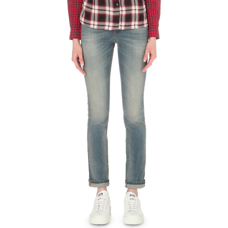 Sandy Straight Mid Rise Jeans, Women's, 0675d - style: straight leg; length: standard; pattern: plain; pocket detail: traditional 5 pocket; waist: mid/regular rise; predominant colour: denim; occasions: casual; fibres: cotton - stretch; jeans detail: whiskering, shading down centre of thigh; jeans & bottoms detail: turn ups; texture group: denim; pattern type: fabric; season: s/s 2016