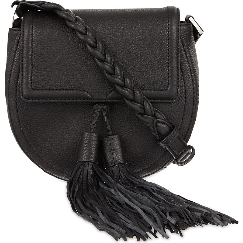 Isobel Tasseled Leather Saddle Bag, Women's, Black - predominant colour: black; occasions: casual, creative work; type of pattern: standard; style: saddle; length: across body/long; size: standard; material: leather; embellishment: tassels; pattern: plain; finish: plain; season: s/s 2016; wardrobe: basic