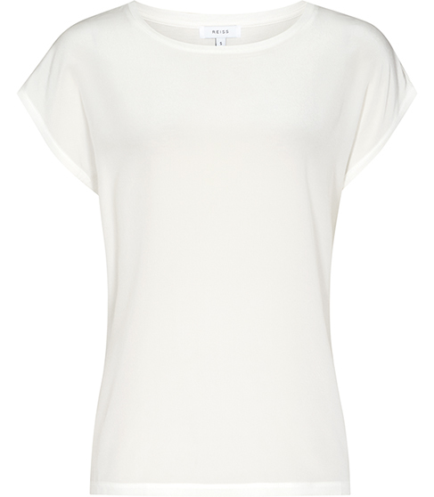 Kiki Silk Front T Shirt - pattern: plain; style: t-shirt; predominant colour: white; occasions: casual; length: standard; fibres: silk - 100%; fit: body skimming; neckline: crew; sleeve length: short sleeve; sleeve style: standard; pattern type: fabric; texture group: jersey - stretchy/drapey; season: s/s 2016