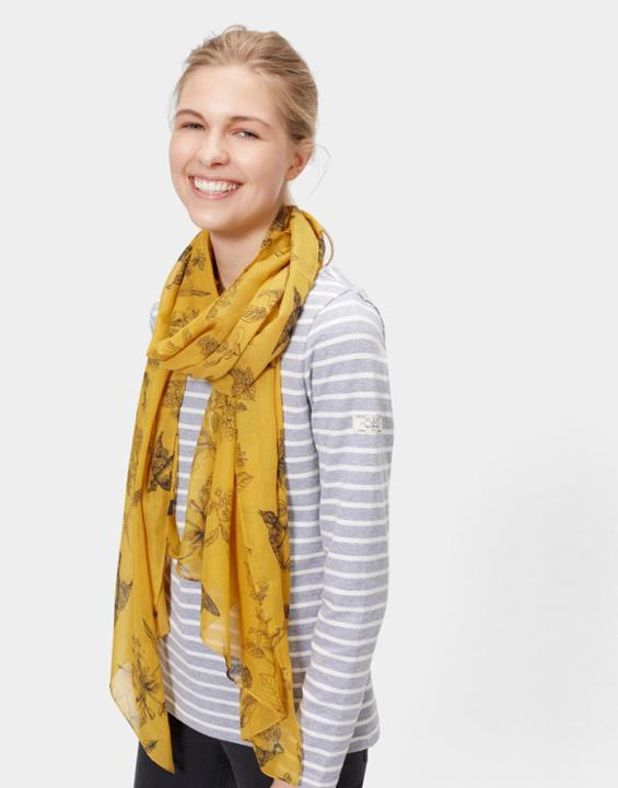 Wensley Scarf Antique Gold Floral - predominant colour: yellow; secondary colour: black; occasions: casual; type of pattern: standard; style: regular; size: standard; material: fabric; pattern: florals; season: s/s 2016; wardrobe: highlight