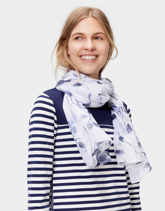 Wensley Scarf Cornfield Yellow Floral - predominant colour: white; secondary colour: navy; occasions: casual; type of pattern: standard; style: regular; size: standard; material: fabric; pattern: florals; multicoloured: multicoloured; season: s/s 2016