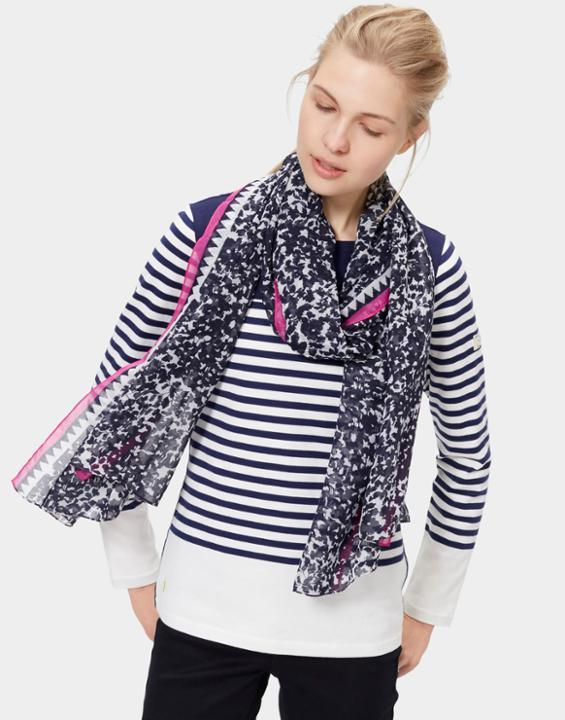 Wensley Scarf French Navy Ditsy - secondary colour: white; predominant colour: black; occasions: casual; type of pattern: standard; style: regular; size: standard; material: silk; pattern: patterned/print; multicoloured: multicoloured; season: s/s 2016; wardrobe: highlight