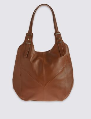 Leather Panelled Hobo Bag - predominant colour: tan; occasions: casual; type of pattern: standard; style: shoulder; length: shoulder (tucks under arm); size: standard; material: leather; pattern: plain; finish: plain; season: s/s 2016; wardrobe: highlight