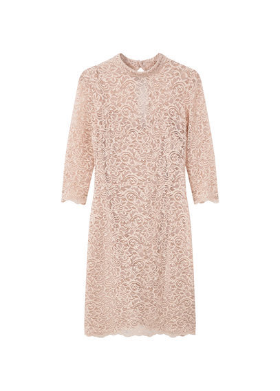 Guipure Dress - style: shift; length: mid thigh; fit: tailored/fitted; neckline: high neck; predominant colour: blush; occasions: evening, occasion; fibres: polyester/polyamide - 100%; sleeve length: 3/4 length; sleeve style: standard; texture group: lace; pattern type: fabric; pattern: patterned/print; season: s/s 2016; wardrobe: event