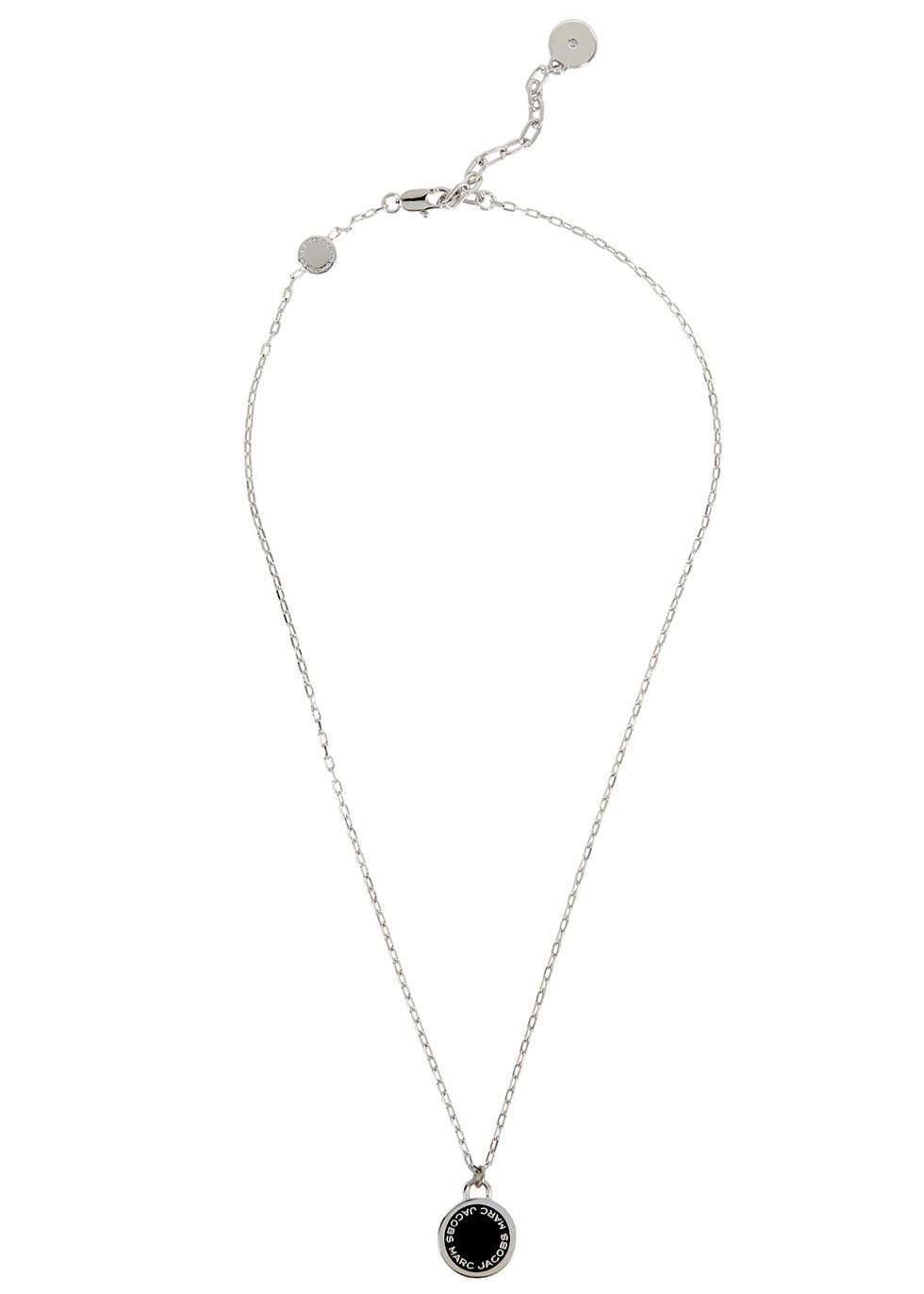 Logo Disc Silver Tone Necklace - predominant colour: silver; secondary colour: black; occasions: work; style: pendant; length: mid; size: standard; material: chain/metal; finish: plain; embellishment: beading; season: s/s 2016; wardrobe: basic