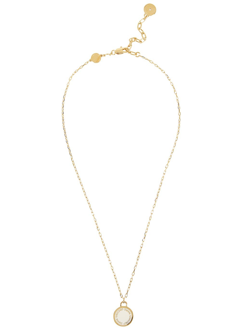 Logo Disc Gold Tone Necklace - predominant colour: gold; occasions: casual, work, creative work; style: pendant; length: mid; size: small/fine; material: chain/metal; finish: plain; embellishment: beading; season: s/s 2016