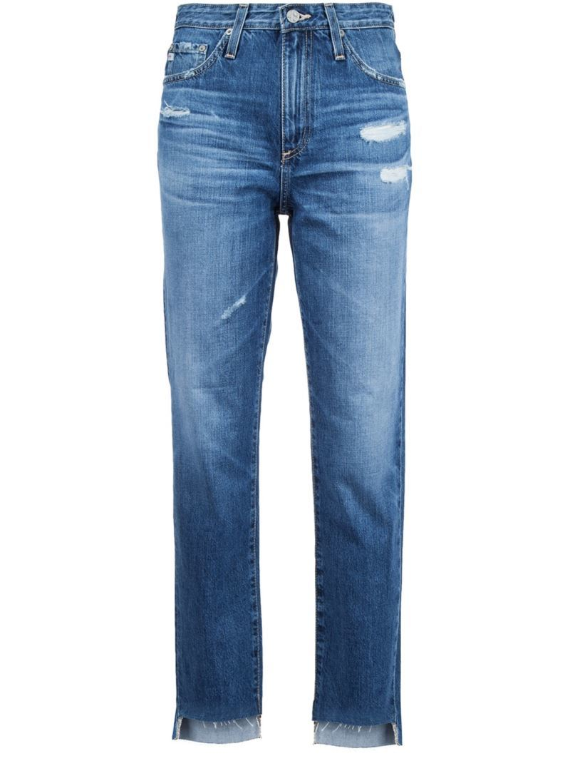 Distressed Cropped Jeans, Women's, Blue - style: straight leg; pattern: plain; pocket detail: traditional 5 pocket; waist: mid/regular rise; predominant colour: denim; occasions: casual; length: calf length; fibres: cotton - stretch; jeans detail: whiskering, shading down centre of thigh, rips; texture group: denim; pattern type: fabric; season: s/s 2016; wardrobe: basic