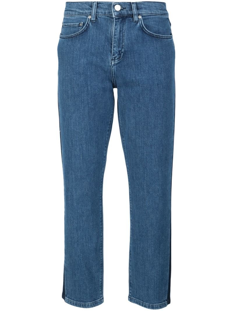 Cropped Boyfriend Jeans, Women's, Blue - style: boyfriend; pattern: plain; pocket detail: traditional 5 pocket; waist: mid/regular rise; predominant colour: denim; occasions: casual; length: calf length; fibres: cotton - stretch; texture group: denim; pattern type: fabric; season: s/s 2016; wardrobe: basic