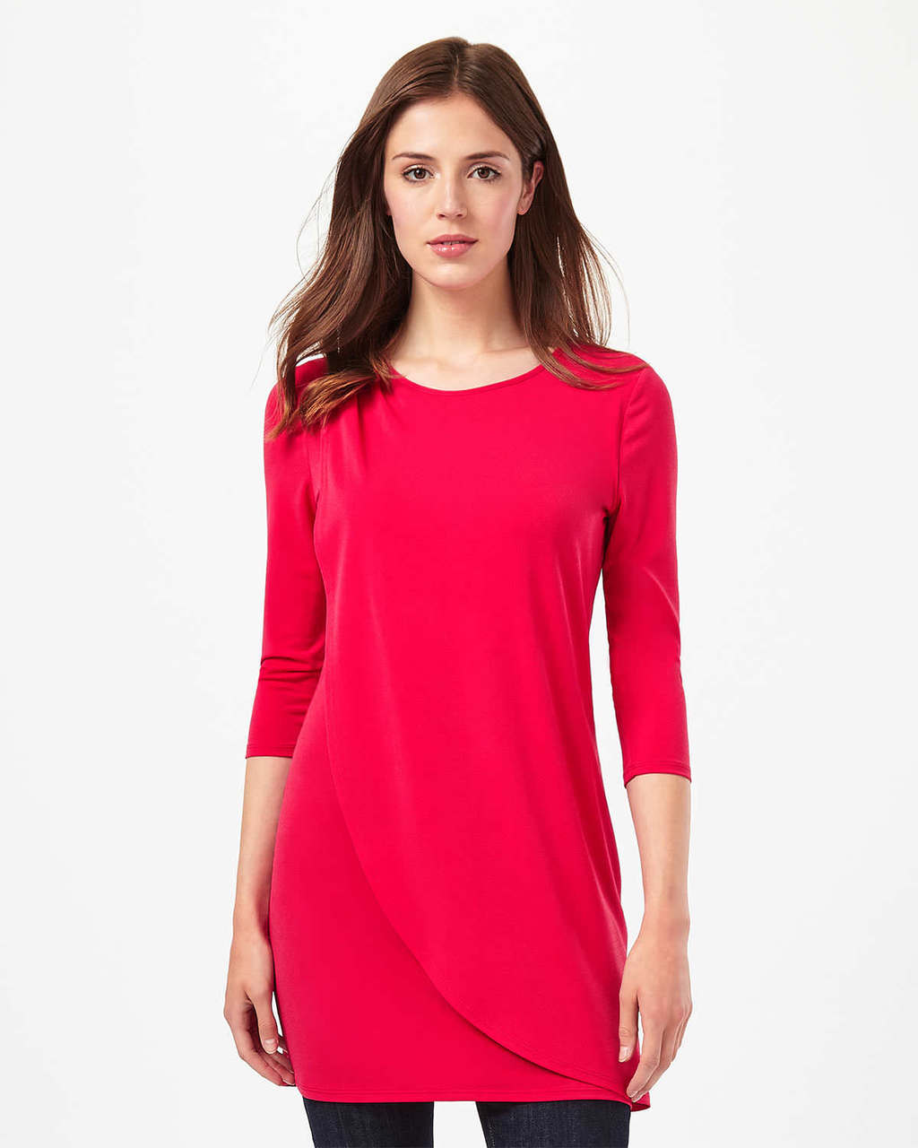 Dotty 3/4 Sleeve Tunic - pattern: plain; style: tunic; predominant colour: true red; occasions: casual; fibres: polyester/polyamide - stretch; fit: body skimming; neckline: crew; length: mid thigh; sleeve length: 3/4 length; sleeve style: standard; pattern type: fabric; texture group: jersey - stretchy/drapey; season: s/s 2016; wardrobe: highlight