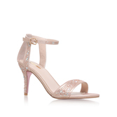 Kollude - predominant colour: blush; occasions: evening; material: leather; heel height: high; ankle detail: ankle strap; heel: stiletto; toe: open toe/peeptoe; style: standard; finish: metallic; pattern: plain; season: s/s 2016; wardrobe: event