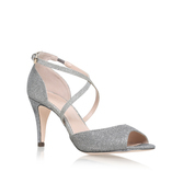 Kimi - predominant colour: silver; occasions: evening; material: leather; heel height: high; embellishment: glitter; heel: stiletto; toe: open toe/peeptoe; style: standard; finish: metallic; pattern: plain; season: s/s 2016
