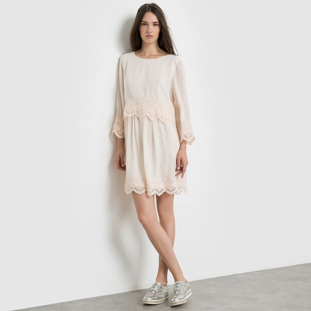 Overlay Laced Dress - style: smock; length: mid thigh; fit: loose; pattern: plain; predominant colour: blush; occasions: casual; fibres: polyester/polyamide - 100%; neckline: crew; sleeve length: long sleeve; sleeve style: standard; pattern type: fabric; texture group: other - light to midweight; season: s/s 2016; wardrobe: basic