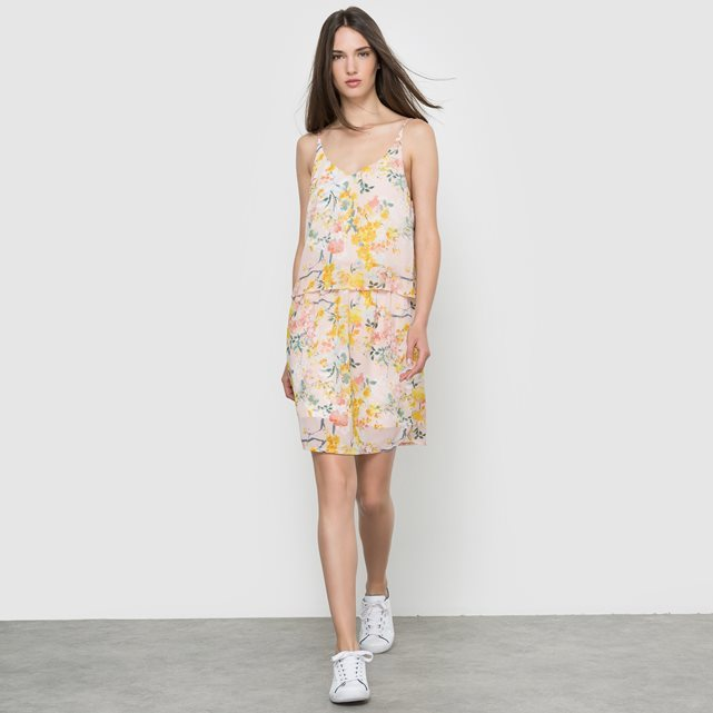 Floral Print Dress With Shoestring Straps - neckline: low v-neck; sleeve style: spaghetti straps; style: sundress; predominant colour: white; secondary colour: yellow; occasions: casual; length: just above the knee; fit: body skimming; fibres: polyester/polyamide - 100%; sleeve length: sleeveless; pattern type: fabric; pattern size: big & busy; pattern: florals; texture group: other - light to midweight; multicoloured: multicoloured; season: s/s 2016; wardrobe: highlight