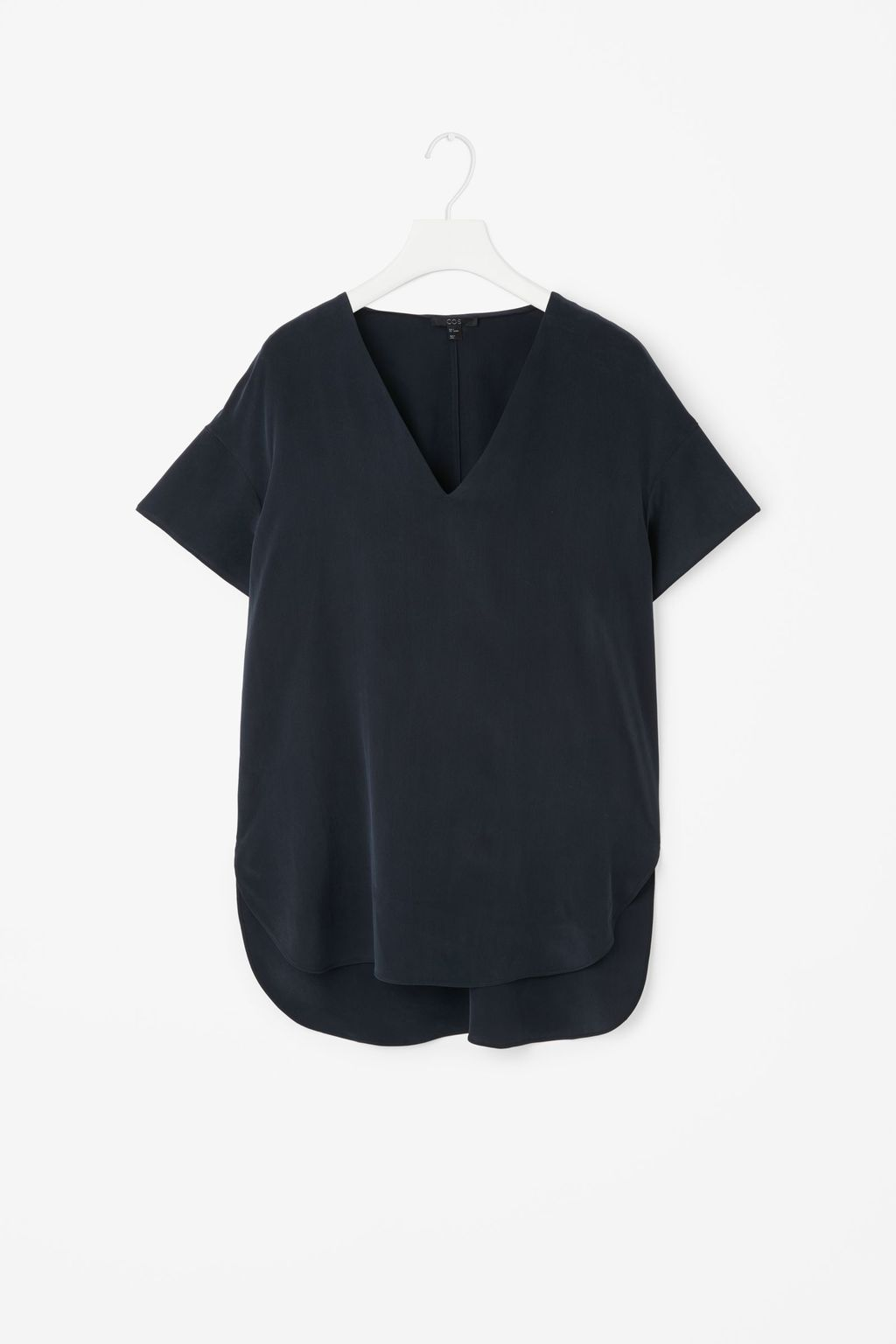 Silk V Neck Top - neckline: v-neck; pattern: plain; predominant colour: black; occasions: casual; length: standard; style: top; fibres: silk - 100%; fit: body skimming; sleeve length: short sleeve; sleeve style: standard; texture group: silky - light; pattern type: fabric; season: s/s 2016; wardrobe: basic