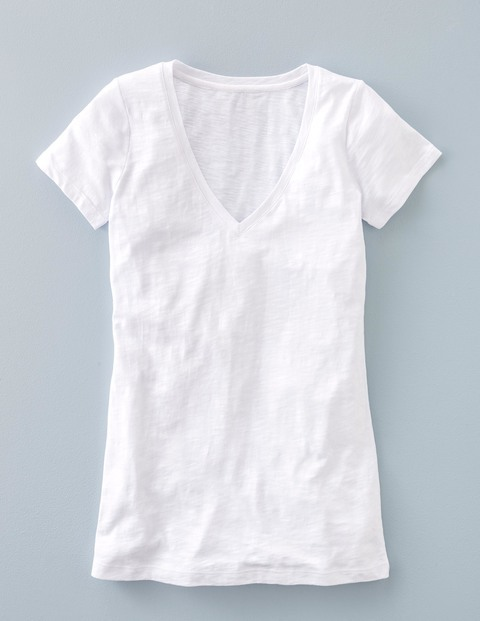 Long Lightweight V Neck White Women, White - neckline: v-neck; pattern: plain; style: t-shirt; predominant colour: white; occasions: casual; length: standard; fibres: cotton - 100%; fit: body skimming; sleeve length: short sleeve; sleeve style: standard; texture group: jersey - clingy; pattern type: fabric; season: s/s 2016; wardrobe: basic