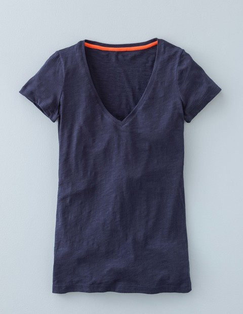 Long Lightweight V Neck Navy Women, Navy - neckline: v-neck; pattern: plain; style: t-shirt; predominant colour: navy; occasions: casual; length: standard; fibres: cotton - 100%; fit: body skimming; sleeve length: short sleeve; sleeve style: standard; pattern type: fabric; texture group: jersey - stretchy/drapey; season: s/s 2016; wardrobe: basic
