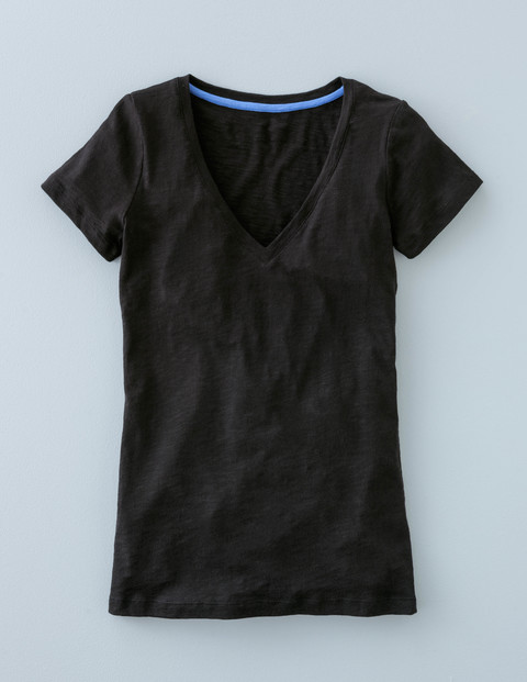 Long Lightweight V Neck Black Women, Black - neckline: low v-neck; pattern: plain; style: t-shirt; predominant colour: black; occasions: casual; length: standard; fibres: cotton - stretch; fit: body skimming; sleeve length: short sleeve; sleeve style: standard; texture group: jersey - clingy; pattern type: fabric; season: s/s 2016; wardrobe: basic