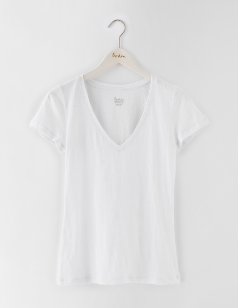 Lightweight V Neck White Women, White - neckline: low v-neck; pattern: plain; style: t-shirt; predominant colour: white; occasions: casual; length: standard; fibres: cotton - stretch; fit: body skimming; sleeve length: short sleeve; sleeve style: standard; texture group: jersey - clingy; pattern type: fabric; season: s/s 2016; wardrobe: basic