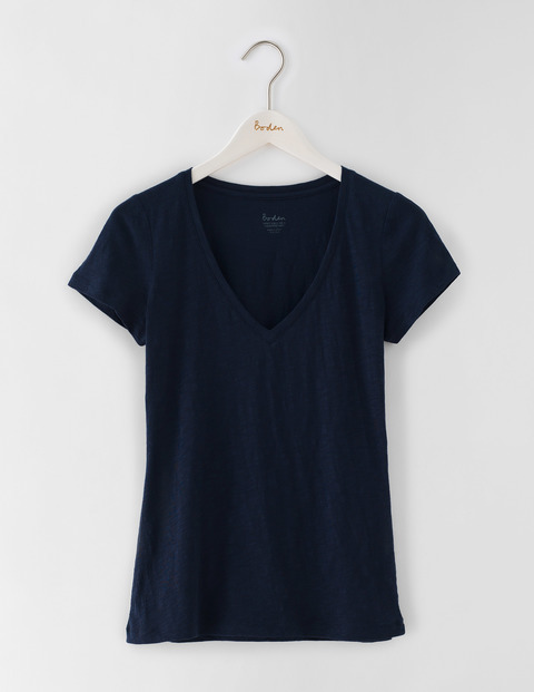 Lightweight V Neck Navy Women, Navy - neckline: low v-neck; pattern: plain; style: t-shirt; predominant colour: navy; occasions: casual; length: standard; fibres: cotton - stretch; fit: body skimming; sleeve length: short sleeve; sleeve style: standard; texture group: jersey - clingy; pattern type: fabric; season: s/s 2016; wardrobe: basic