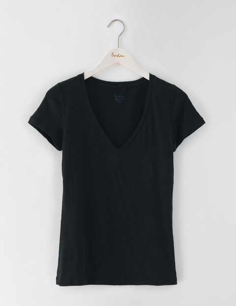 Lightweight V Neck Black Women, Black - neckline: v-neck; pattern: plain; style: t-shirt; predominant colour: black; occasions: casual; length: standard; fibres: cotton - stretch; fit: body skimming; sleeve length: short sleeve; sleeve style: standard; texture group: jersey - clingy; pattern type: fabric; season: s/s 2016; wardrobe: basic