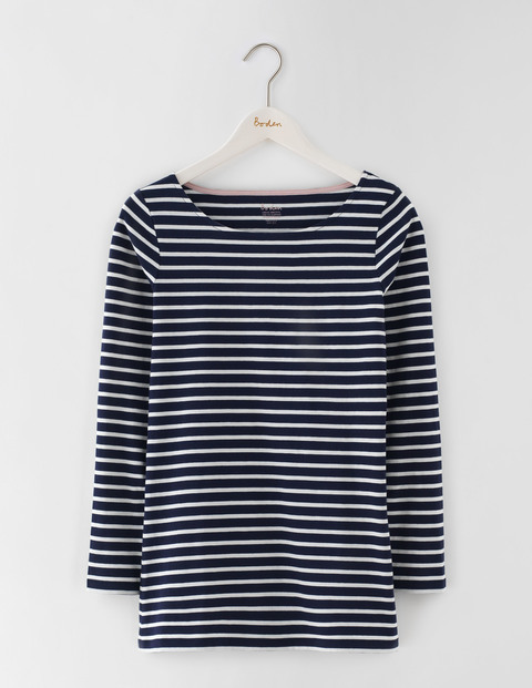 Long Length Long Sleeve Breton Navy/Ivory Women, Navy/Ivory - neckline: round neck; pattern: horizontal stripes; length: below the bottom; style: tunic; secondary colour: ivory/cream; predominant colour: navy; occasions: casual; fibres: cotton - 100%; fit: body skimming; sleeve length: long sleeve; sleeve style: standard; pattern type: fabric; texture group: jersey - stretchy/drapey; multicoloured: multicoloured; season: s/s 2016; wardrobe: basic