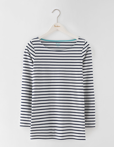 Long Length Long Sleeve Breton Ivory/Navy Women, Ivory/Navy - neckline: round neck; pattern: horizontal stripes; style: t-shirt; secondary colour: white; predominant colour: navy; occasions: casual; length: standard; fibres: cotton - stretch; fit: body skimming; sleeve length: 3/4 length; sleeve style: standard; pattern type: fabric; pattern size: standard; texture group: jersey - stretchy/drapey; season: s/s 2016; wardrobe: basic