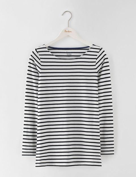 Long Length Long Sleeve Breton Ivory/Black Women, Ivory/Black - pattern: horizontal stripes; predominant colour: ivory/cream; secondary colour: black; occasions: casual; length: standard; style: top; fibres: cotton - 100%; fit: body skimming; neckline: crew; sleeve length: long sleeve; sleeve style: standard; pattern type: fabric; texture group: jersey - stretchy/drapey; multicoloured: multicoloured; season: s/s 2016; wardrobe: basic