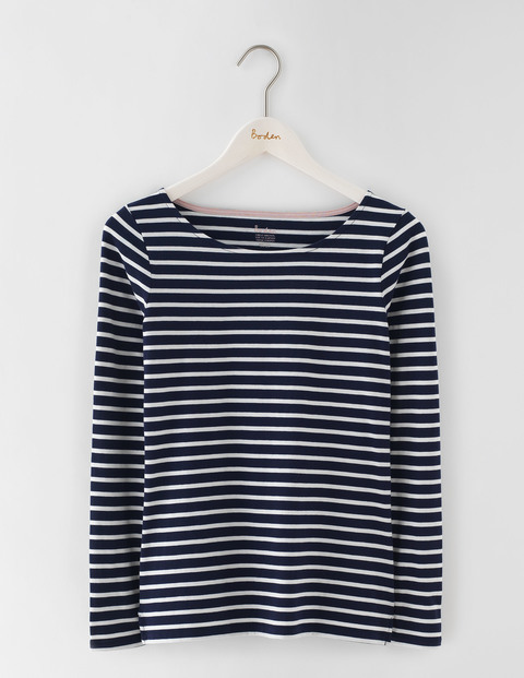 Long Sleeve Breton Navy/Ivory Women, Navy/Ivory - pattern: horizontal stripes; secondary colour: ivory/cream; predominant colour: navy; occasions: casual, creative work; length: standard; style: top; neckline: scoop; fibres: cotton - 100%; fit: straight cut; sleeve length: long sleeve; sleeve style: standard; pattern type: fabric; texture group: jersey - stretchy/drapey; pattern size: big & busy (top); season: s/s 2016; wardrobe: basic