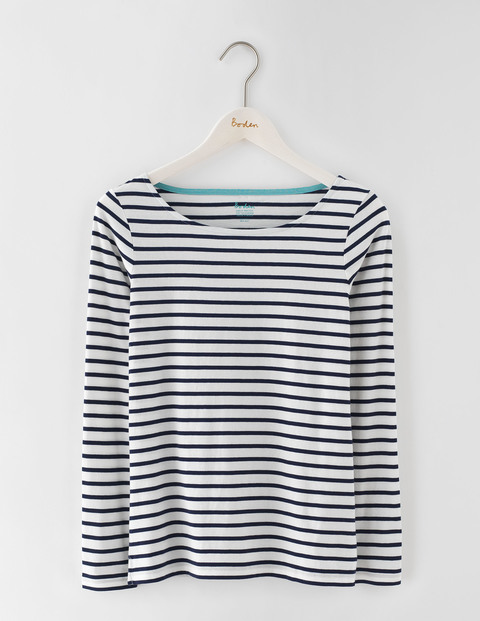 Long Sleeve Breton Ivory/Navy Women, Ivory/Navy - neckline: round neck; pattern: horizontal stripes; style: t-shirt; predominant colour: white; secondary colour: navy; occasions: casual; length: standard; fibres: cotton - 100%; fit: body skimming; sleeve length: long sleeve; sleeve style: standard; pattern type: fabric; texture group: jersey - stretchy/drapey; multicoloured: multicoloured; season: s/s 2016; wardrobe: basic