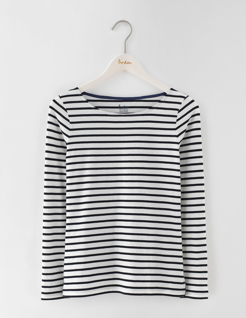 Long Sleeve Breton Ivory/Black Women, Ivory/Black - pattern: horizontal stripes; style: t-shirt; secondary colour: white; predominant colour: navy; occasions: casual; length: standard; fibres: cotton - 100%; fit: body skimming; neckline: crew; sleeve length: long sleeve; sleeve style: standard; pattern type: fabric; texture group: jersey - stretchy/drapey; multicoloured: multicoloured; season: s/s 2016; wardrobe: basic