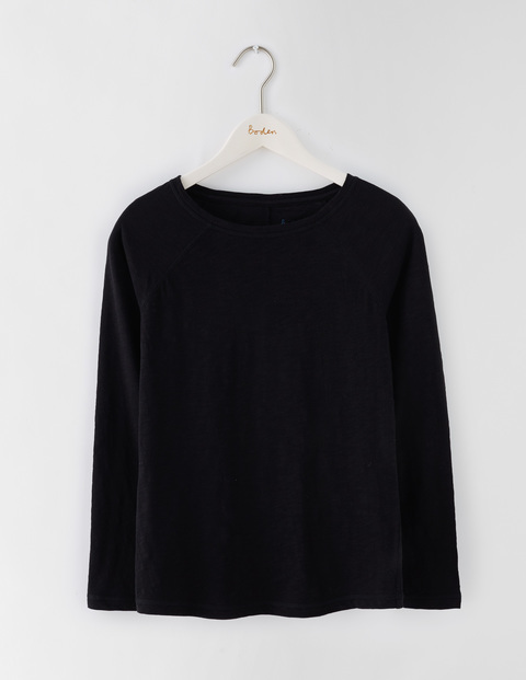 Lightweight Baseball Tee Black Women, Black - neckline: v-neck; pattern: plain; style: sweat top; predominant colour: black; occasions: casual, creative work; length: standard; fibres: cotton - 100%; fit: straight cut; sleeve length: long sleeve; sleeve style: standard; texture group: knits/crochet; pattern type: fabric; season: s/s 2016; wardrobe: basic