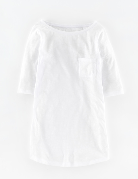 Long Lightweight Boat Neck White Women, White - neckline: round neck; pattern: plain; predominant colour: white; occasions: casual; length: standard; style: top; fibres: cotton - 100%; fit: body skimming; sleeve length: half sleeve; sleeve style: standard; pattern type: fabric; texture group: jersey - stretchy/drapey; season: s/s 2016; wardrobe: basic