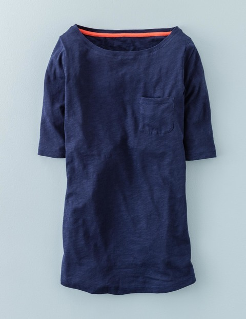Long Lightweight Boat Neck Navy Women, Navy - neckline: round neck; pattern: plain; style: t-shirt; predominant colour: navy; occasions: casual; length: standard; fibres: cotton - stretch; fit: body skimming; sleeve length: half sleeve; sleeve style: standard; texture group: jersey - clingy; pattern type: fabric; season: s/s 2016; wardrobe: basic