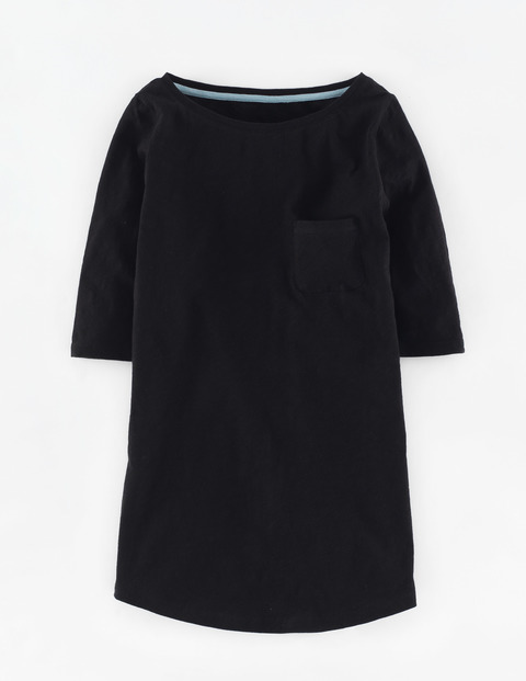 Long Lightweight Boat Neck Black Women, Black - neckline: round neck; pattern: plain; length: below the bottom; style: t-shirt; predominant colour: black; occasions: casual; fibres: cotton - stretch; fit: body skimming; sleeve length: 3/4 length; sleeve style: standard; texture group: jersey - clingy; pattern type: fabric; season: s/s 2016; wardrobe: basic