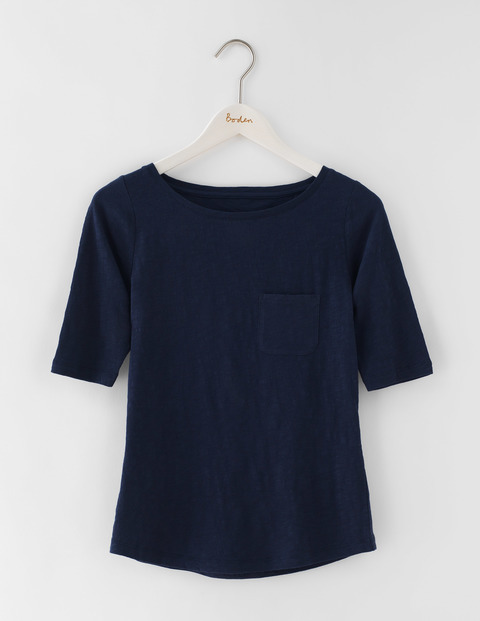 Lightweight Boat Neck Navy Women, Navy - pattern: plain; style: t-shirt; predominant colour: navy; occasions: casual; length: standard; fibres: cotton - 100%; fit: body skimming; neckline: crew; sleeve length: short sleeve; sleeve style: standard; pattern type: fabric; texture group: jersey - stretchy/drapey; season: s/s 2016