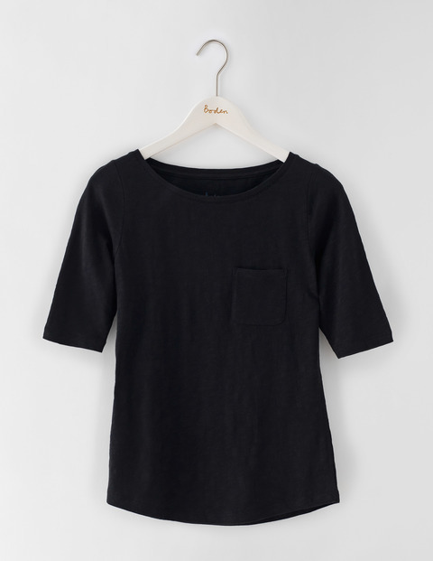 Lightweight Boat Neck Black Women, Black - pattern: plain; style: t-shirt; predominant colour: black; occasions: casual; length: standard; fibres: cotton - 100%; fit: body skimming; neckline: crew; sleeve length: short sleeve; sleeve style: standard; pattern type: fabric; texture group: jersey - stretchy/drapey; season: s/s 2016