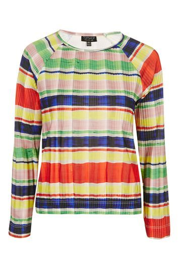 Pleated Stripe Long Sleeve Top - neckline: round neck; pattern: horizontal stripes; secondary colour: true red; predominant colour: primrose yellow; occasions: casual, creative work; length: standard; style: top; fibres: polyester/polyamide - 100%; fit: body skimming; sleeve length: long sleeve; sleeve style: standard; texture group: knits/crochet; pattern type: knitted - fine stitch; pattern size: light/subtle; trends: fashion girl; season: s/s 2016; wardrobe: highlight