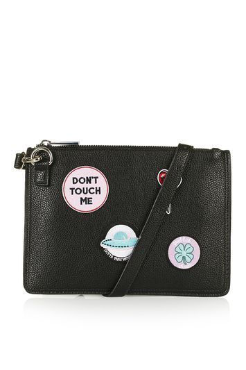 Badge Detailed Clutch - secondary colour: blush; predominant colour: black; occasions: evening; type of pattern: standard; style: clutch; length: across body/long; size: standard; material: faux leather; embellishment: applique; pattern: plain; finish: plain; season: s/s 2016
