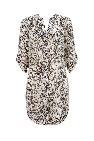 Leopard Print Shirt - style: shirt; predominant colour: ivory/cream; secondary colour: mid grey; occasions: casual; neckline: collarstand & mandarin with v-neck; fibres: polyester/polyamide - 100%; fit: body skimming; length: mid thigh; sleeve length: long sleeve; sleeve style: standard; pattern type: fabric; pattern: animal print; texture group: other - light to midweight; multicoloured: multicoloured; season: s/s 2016