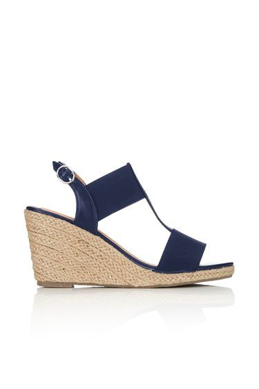 Navy Elastic Espadrille Wedge - predominant colour: navy; occasions: casual; material: fabric; heel height: high; ankle detail: ankle strap; heel: wedge; toe: open toe/peeptoe; style: strappy; finish: plain; pattern: plain; season: s/s 2016; wardrobe: investment