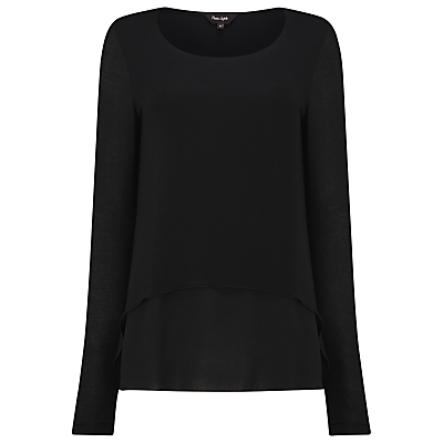Ciera Layered Top - neckline: round neck; pattern: plain; bust detail: ruching/gathering/draping/layers/pintuck pleats at bust; predominant colour: black; occasions: casual, creative work; length: standard; style: top; fibres: viscose/rayon - stretch; fit: body skimming; sleeve length: long sleeve; sleeve style: standard; pattern type: fabric; pattern size: standard; texture group: jersey - stretchy/drapey; season: s/s 2016