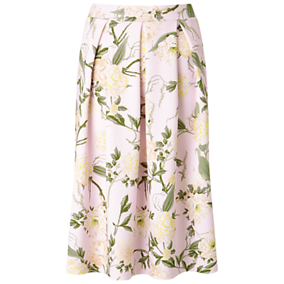 Floral Midi Skirt - length: below the knee; style: full/prom skirt; fit: loose/voluminous; waist: high rise; predominant colour: blush; secondary colour: emerald green; occasions: evening; fibres: polyester/polyamide - stretch; hip detail: adds bulk at the hips; texture group: sheer fabrics/chiffon/organza etc.; pattern type: fabric; pattern: florals; pattern size: standard (bottom); multicoloured: multicoloured; season: s/s 2016; wardrobe: event