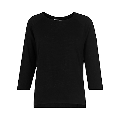 Alice Three Quarter Sleeve Linen T Shirt - neckline: round neck; pattern: plain; style: t-shirt; predominant colour: black; occasions: casual, creative work; length: standard; fibres: linen - 100%; fit: body skimming; sleeve length: 3/4 length; sleeve style: standard; texture group: linen; pattern type: fabric; pattern size: standard; season: s/s 2016; wardrobe: basic
